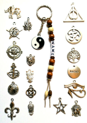 Bag Charms, Personalised Wiccan Witchcraft Named Pagan Keyring Wicca