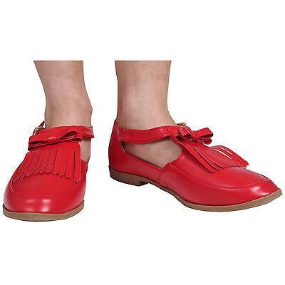 Señoras para mujer de corte planos Geek T-bar tassle trabajo de oficina Bombas Zapatos Talla 3-8