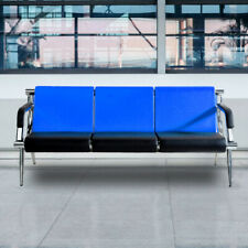 3 Seat Office Waiting Room Reception Chair Pu Leather Blue Bench Guest Sofa Seat