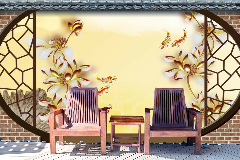 3D 3D 3D Golden Plant Fish 8 Wallpaper Mural Wall Print Wall Wallpaper Murals US Carly 11bdbd