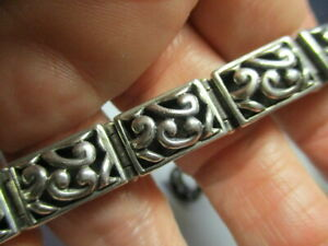 STERLING-SILVER-925-VINTAGE-RAISED-SCROLL-SECTIONS-7-75-INCH-BRACELET-41-7-GRAMS