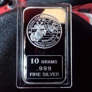 10 Grams .999 USMC Fine Silver Bullion Bar / Semper Fidelis / oz TSB059 1