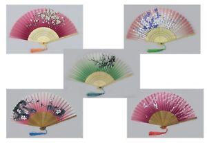 Handfächer Fächer aus Stoff und Bambusholz mit schönen verschieden Motiven
