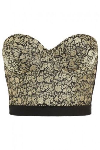 TOPSHOP Ex TOPSHOP Gold Jacquared Bralette//Top Sizes 6 /& 12 BNWOT RRP £30