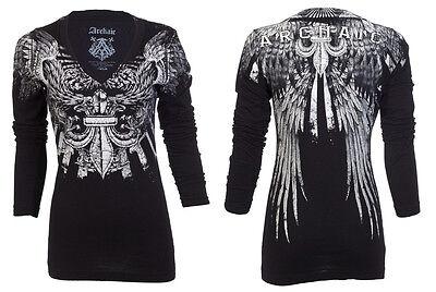 Archaic AFFLICTION Women LS T-Shirt STRONG WIND Tattoo Biker UFC Sinful M-XL $58