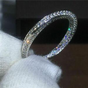 3-Ct-Round-Cut-Diamond-14K-White-Gold-Over-Women-039-s-Eternity-Wedding-Band-Ring
