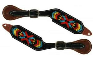 Showman-Navajo-Embroidered-Leather-Western-Spur-Straps-NEW-HORSE-TACK