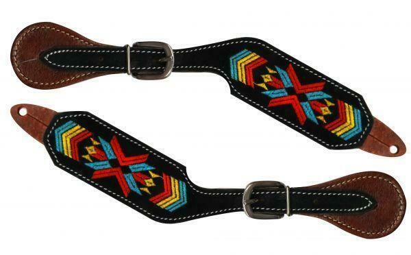 Showman Navajo Embroidered Leather Western Spur Straps! NEW HORSE TACK!