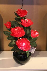 46cms-Fibre-Optic-Colour-change-RED-PEONY-flower-Plant-amp-Vase-Xmas-Table