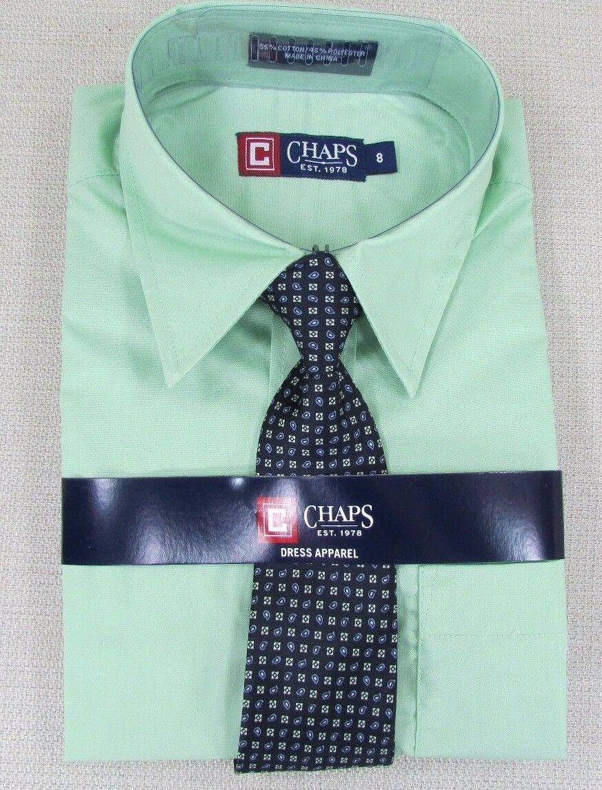 Chaps Youth Boys Long Sleeve Button Down Shirt Tie Combo Set Green