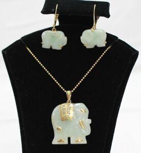 Image Is Loading Jade Elephant Earrings Amp Necklace Set 14k Gold