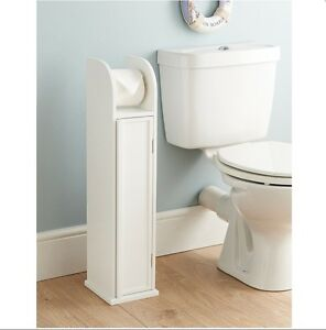 white wood free standing cabinet toilet roll paper holder saver storage cabinet ebay. Black Bedroom Furniture Sets. Home Design Ideas