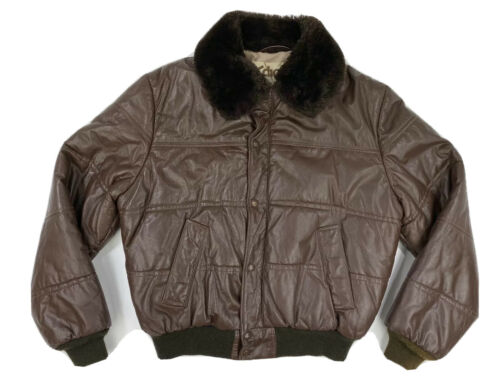 Vintage SCHOTT NYC Men's 46 XL Brown Leather Fur S