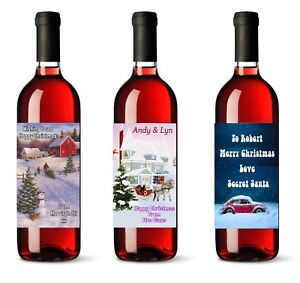 Image is loading 2-x-Personalised-Wine-Bottle-Labels-Name-Message-