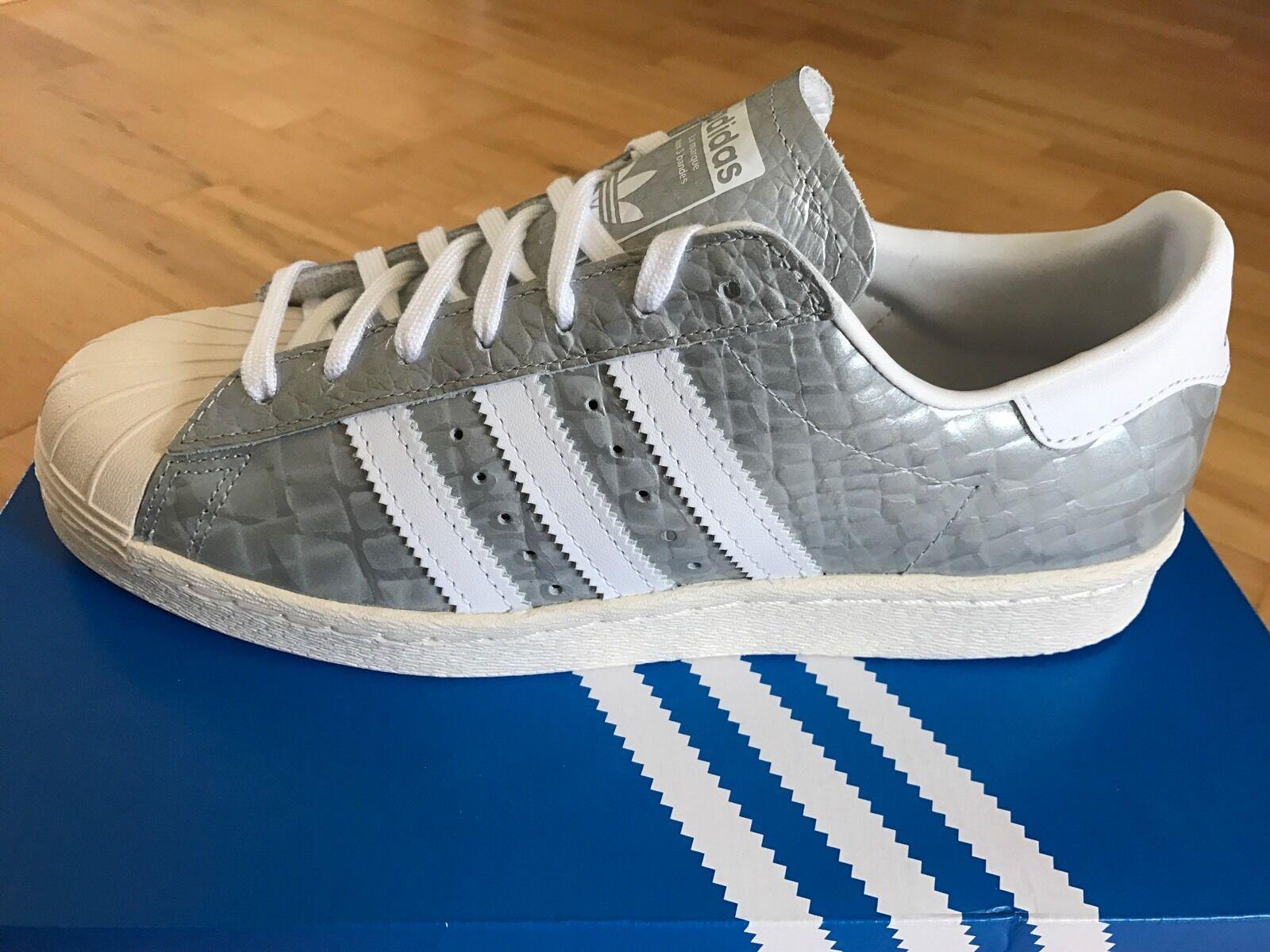 Adidas Superstar années 80 peau peau peau de serpent femme/Baskets homme, argent-Taille 6 975a2d