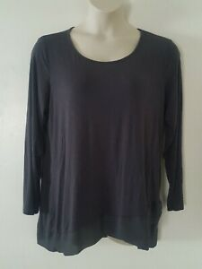 CATO-Solid-Gray-Long-Sleeve-Sheer-Trim-Thin-Tee-Blouse-Plus-Size-18-20-2X