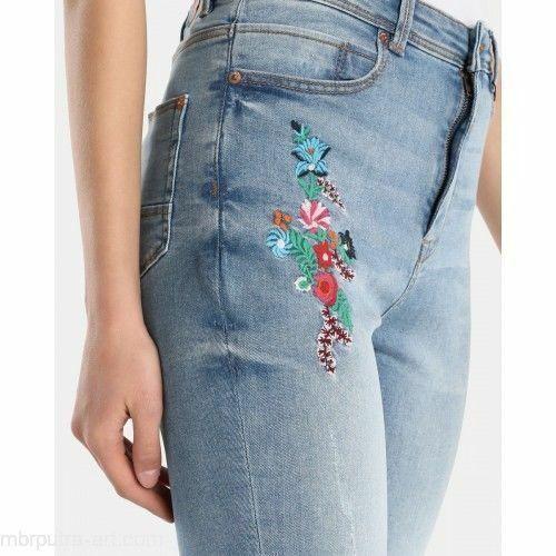 Ladies Vintage Floral High Rise Blue Skinny Denim Jeans Mid Washed 6-14