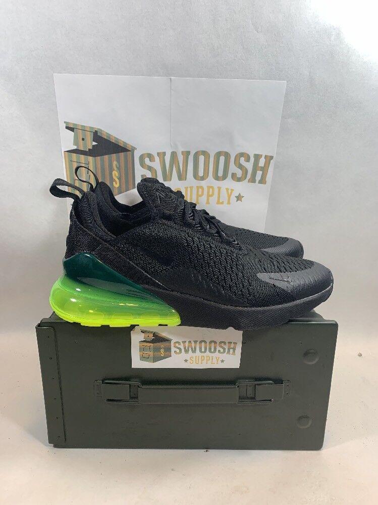 Nike Air Max 270 Black Volt Green Neon AH8050-011 Mens Size 8