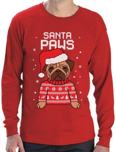 Santa Paws Pug Ugly Christmas Sweater Dog Long Sleeve T-Shirt Gift
