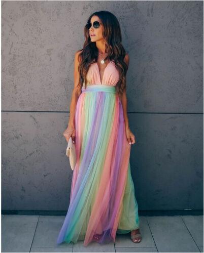 Woman Sleeveless Straps maxi dress Rainbow color chiffon V Neck dress S-2XL