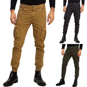 mejor sitio web 0bfde 5bc97 Detalles de Pantalones de hombre cargo bolsillos laterales bolsillos  militares brazalete
