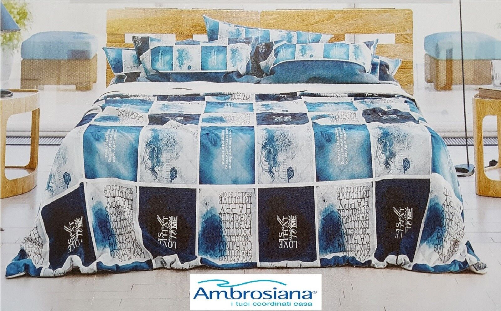 AMBROSIAN Bedspread piqué - SHADES in 100% Cotton MADE in ITALY