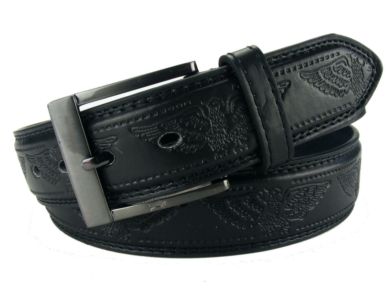 Herrengürtel mit Adler Gürtel Jeansgürtel glatt Damengürtel schwarz #HRG32D