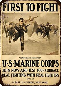 US-Marine-Corps-First-to-Fight-Vintage-Retro-Metal-Sign-8-034-x-12-034
