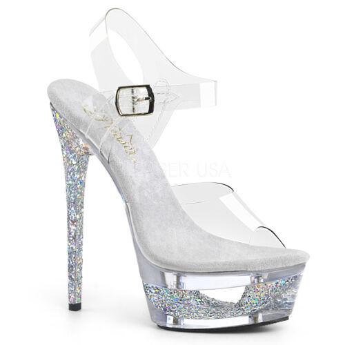 608GT clair argent compensées à bride à la cheville Pole Dancing Shoes Pleaser Eclipse