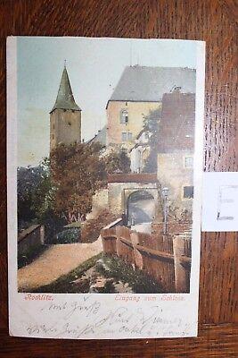 Vereinigt Postkarte Ansichtskarte Sachsen Lithografie Rochlitz Eingang Zum Schloss Jade Weiß
