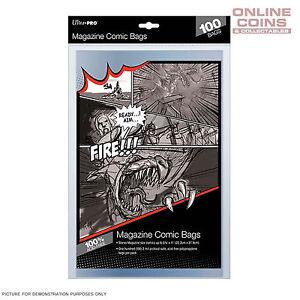 Ultra Pro Comic Series Acid Free Ultra Clear Magazine Size Comic Bags x 100