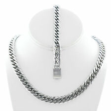 """Mens Stainless Steel Miami Cuban Chain And Bracelet Set 12mm 30"""" JayZ Hip Hop"""