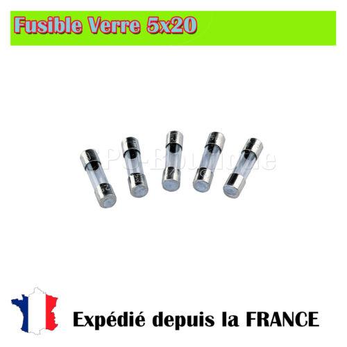 Rapide 1.6A//250V Fusible verre 5x20 5 Piéces