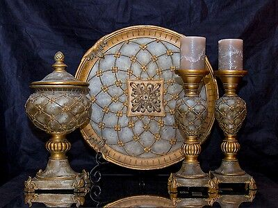 Venetian Décor Candle Stick Holder Charger Set & Jewelry Trinket Box Home Accent