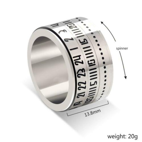 Unique Wide Turnable Number Clock Time Stainless Steel Finger Band Ring