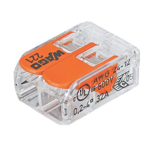 5 x WAGO 2-Way Compact Levier connecteur 221-412