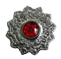 Men's Scottish Fly Plaid Brooch Red Stone Chrome Finish 4/kilt Fly Plaid Brooch