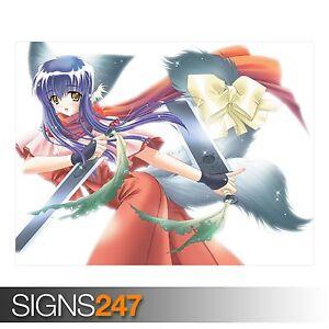 Chica-Anime-pelea-de-espadas-3215-Cartel-De-Anime-Foto-Poster-Print-Art-Todas-las-Tallas