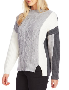 Vince-Camuto-Womens-Colorblock-White-Gray-Cable-Knit-Sweater-Size-Large-NEW