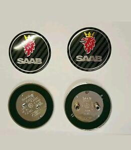Set of Two SAAB Boot & Bonnet Badge Carbon Fiber 93 9-3 2003-2010 95 900