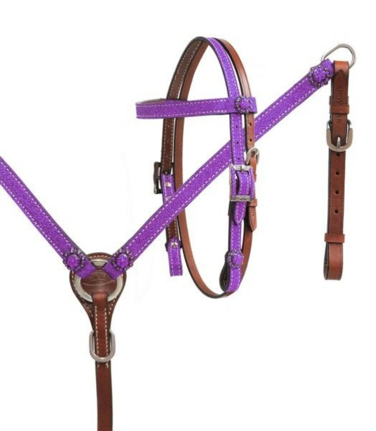 Showman PONY SIZE PURPLE Glitter Overlay Leather Headstall & Breast Collar Set
