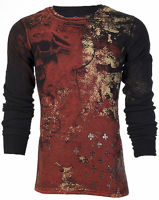 Archaic AFFLICTION Mens THERMAL T-Shirt BRASS Skulls Tattoo Biker MMA UFC $58
