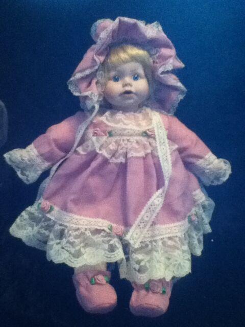 """17"""" Blonde Blue Eye Porcelain Soft Body Baby Doll Pink Rosette Bonnet Socks Boot"""