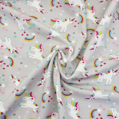 Cotton Stretch Jersey Fabric Childrens Silver Grey JERSEY Bon Bon Unicorn
