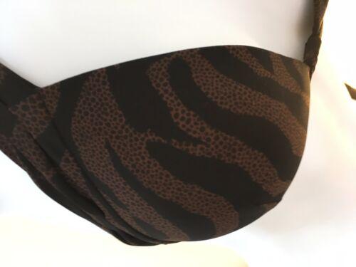 B Maryan Mehlhorn haltar Negro y Marrón Animal Print Bikini Set Reino Unido 12 /& 14/'