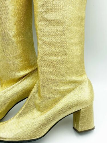True Vtg 1960s Gold Lame Go Go Boots Sz 5.5 Rare M