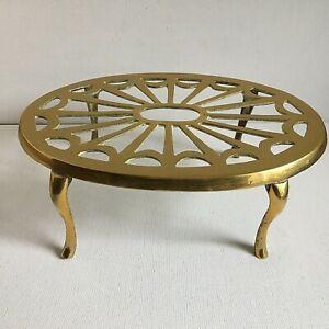Vintage-Large-Brass-Trivet-Plant-Stand-Sunburst-Art-Deco-Style-Oval-9-5-x-6-5in