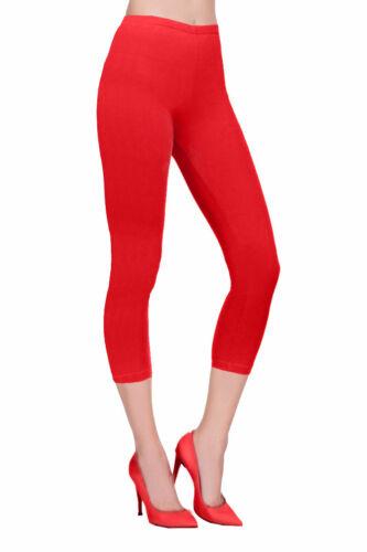 Womens Cropped 3//4 Capri Length Cotton Leggings Summer Plus Size 8 10 12 14 16