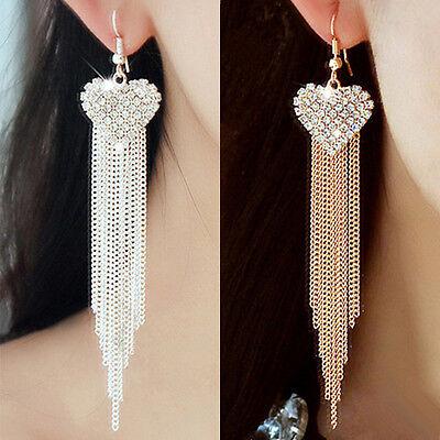 Women Love Heart Party Earrings Tassels Rhinestone Hook Dangle Linear Earrings E