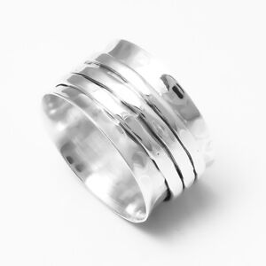 925-Sterling-Silver-Spinner-Ring-Wide-Band-Meditation-Statement-Jewelry-sr3201